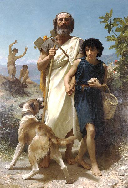 Ida Dagi'nda Homeros ve rehberi Glaucus (William Adolphe Bouguereau - 1874)