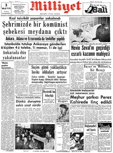 3 Mayis 1950 tarihli Milliyet Gazetesi